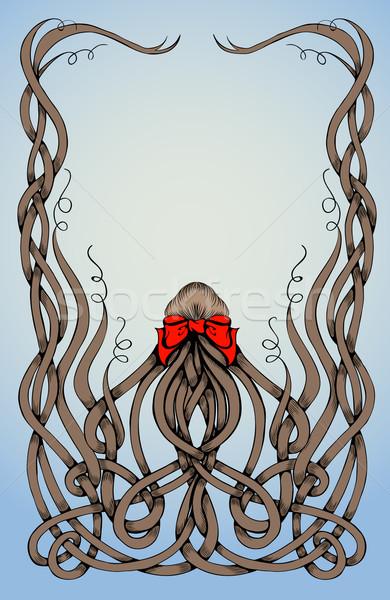 Frame lang krulhaar groot Rood boeg Stockfoto © tanya_ivanchuk
