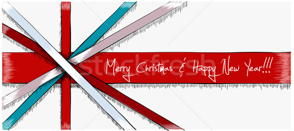 Stock photo: Greeting Christmas Card drawn in sketch style