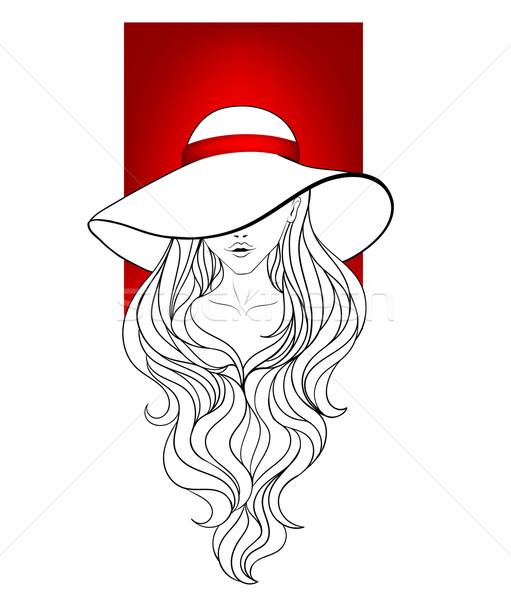 Jong meisje vintage hoed groot velden Stockfoto © tanya_ivanchuk