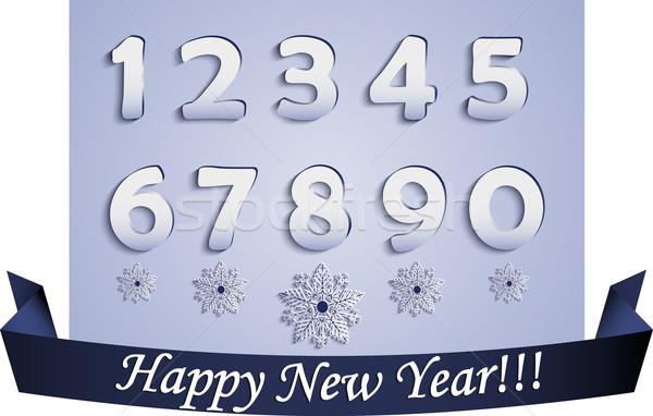 Vliegtuig nummers sneeuwvlokken schaduwen Blauw lint Stockfoto © tanya_ivanchuk