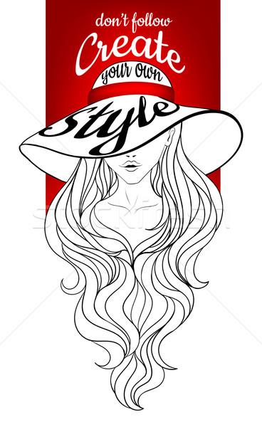 Jonge dame vintage hoed jong meisje groot Stockfoto © tanya_ivanchuk