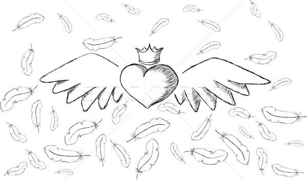 Hart vleugels veren rond abstract Stockfoto © tanya_ivanchuk