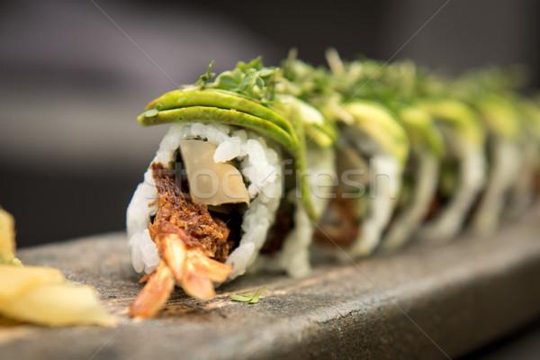 Sushi kamień tablicy żywności Zdjęcia stock © tarczas