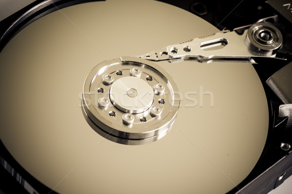Festplatte Laufwerk Makro geöffnet Technologie Laden Stock foto © tarczas