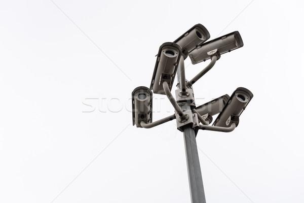 Biztonság cctv megfigyelés kamera kék ég technológia Stock fotó © tarczas