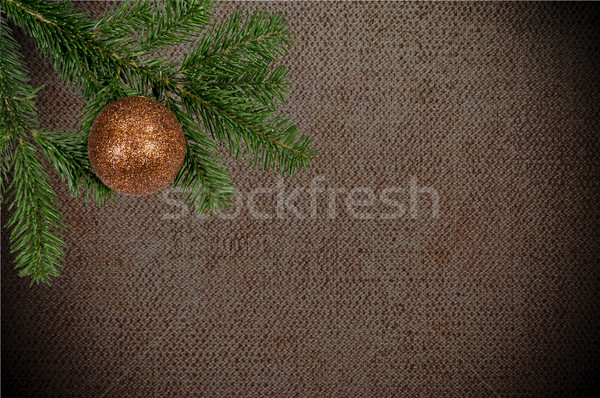 green branch with christmas ball on canvas background Stock photo © tarczas