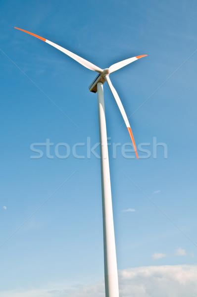 Szélfarm tájkép kék farm fehér elektromosság Stock fotó © tarczas