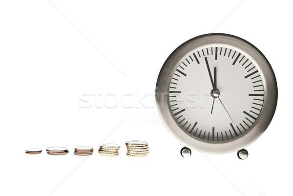 Время-деньги часы монетами белый деньги металл Сток-фото © tarczas