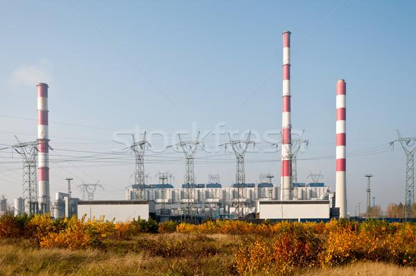 Erőmű távvezeték ipari erő kábelek elektomos Stock fotó © tarczas