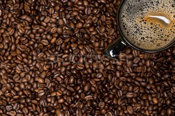 кофе черный Кубок горячий напиток продовольствие древесины Сток-фото © tarczas