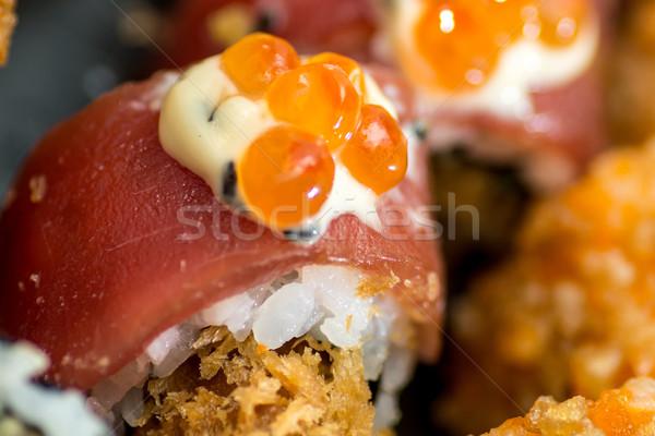Sushi zalm Rood kaviaar asia Stockfoto © tarczas