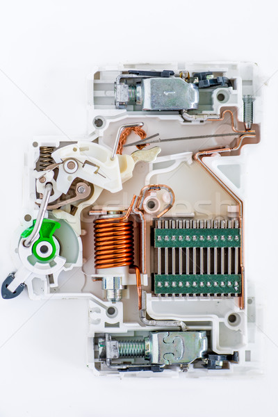 inside of circuit breaker on the white background Stock photo © tarczas