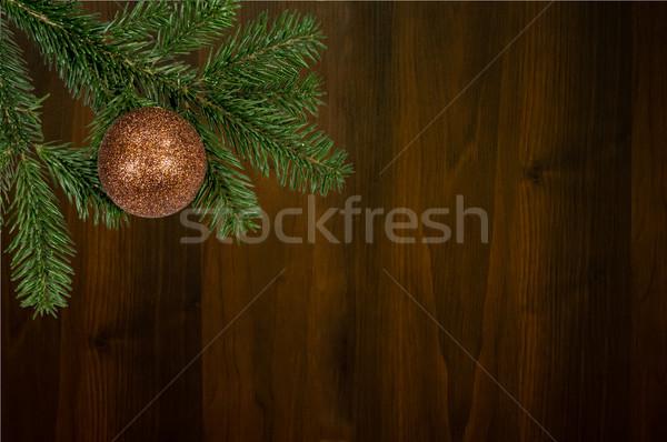 Groene tak christmas bal houten Stockfoto © tarczas