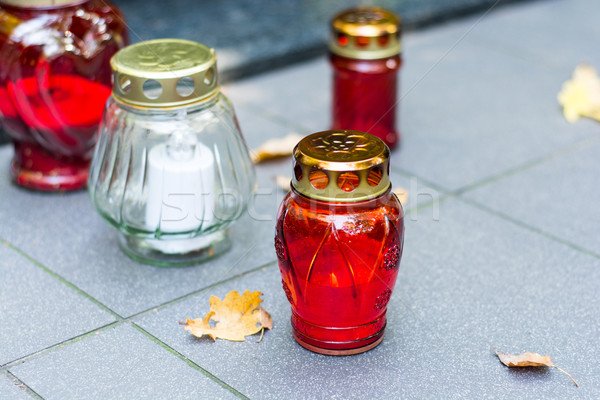 Gyertya sír piros lámpa gyertyák vallás Stock fotó © tarczas