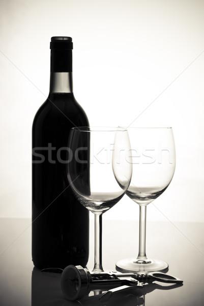 üveg bor borospoharak ital Stock fotó © tarczas
