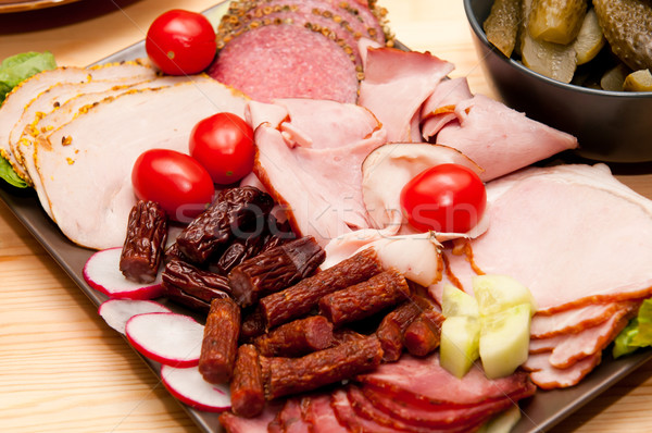 platter of cold cuts and sausages with ham and tomatoes Stock photo © tarczas