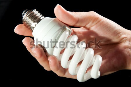 Energie besparing gloeilamp hand Stockfoto © tarczas