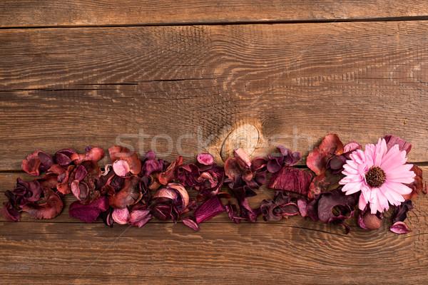 Aszalt virágok fából készült öreg asztal Stock fotó © tarczas