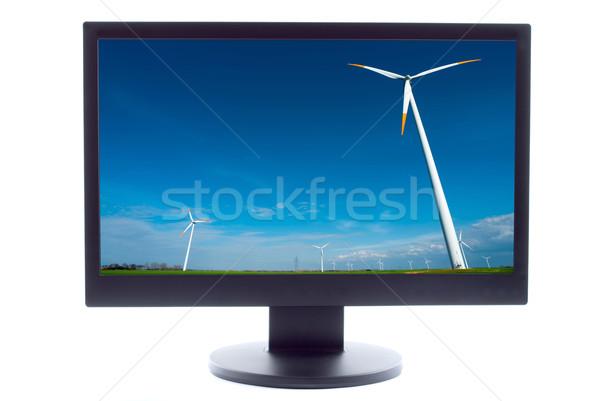 Foto stock: Tv · tela · paisagem · verde · azul