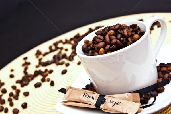 Taza de café frijoles azúcar moreno alimentos café Servicio Foto stock © tarczas