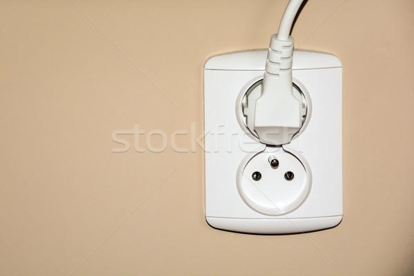white double electrical socket with plug Stock photo © tarczas