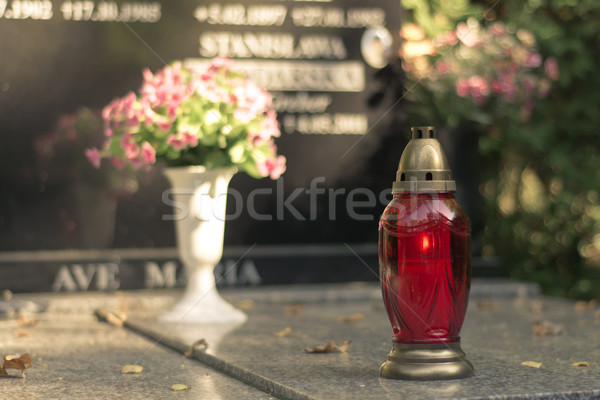 candle on the grave Stock photo © tarczas