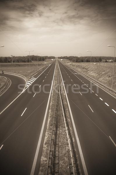 üres aszfalt autópálya út tájkép Stock fotó © tarczas
