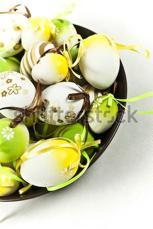 Huevos de Pascua Pascua blanco amarillo decoración naturales Foto stock © tarczas