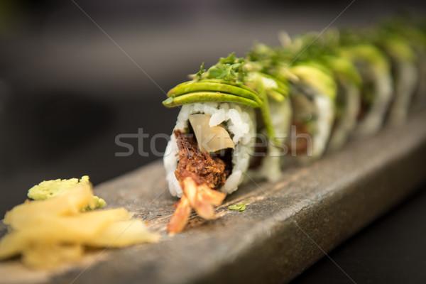 Sushi steen plaat vis Stockfoto © tarczas