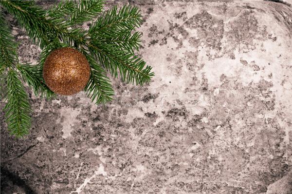 Karácsony dekoráció öreg bőr zöld labda Stock fotó © tarczas