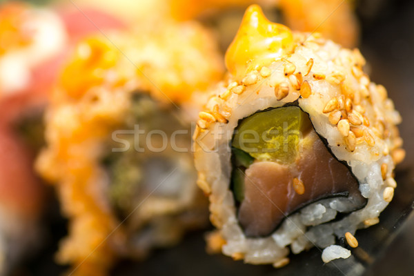 various kind roll sushi on the plate Stock photo © tarczas