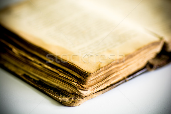 Velho livro couro cobrir livro branco Foto stock © tarczas