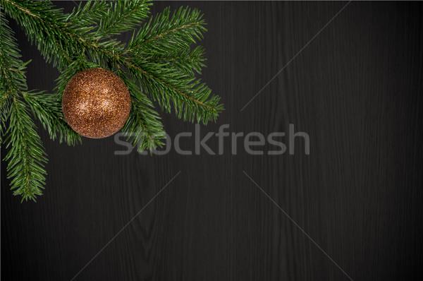 Zöld ág karácsony labda fából készült Stock fotó © tarczas