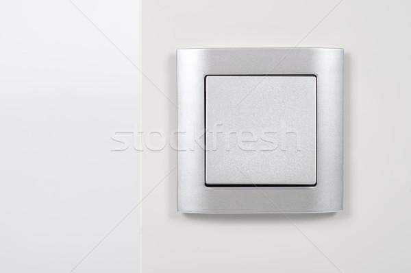 Argent interrupteur de lumière mur blanche Photo stock © tarczas