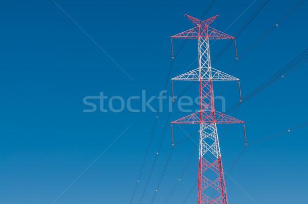 Erő vonal városi gyár ipari sziluett Stock fotó © tarczas