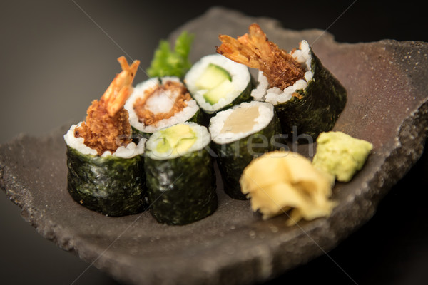 Sushi maki rolls with salmon, avocado and prawns Stock photo © tarczas