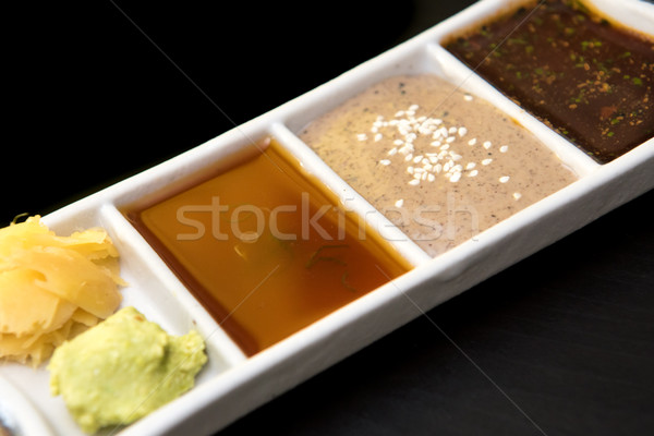 japanese sauces wasabi and ginger Stock photo © tarczas
