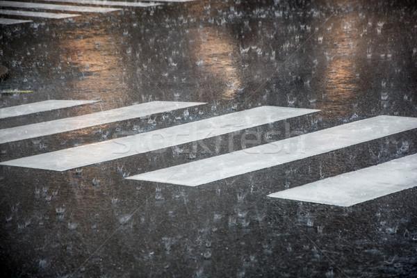 pedestrian crossing during the big rainstorm Stock photo © tarczas