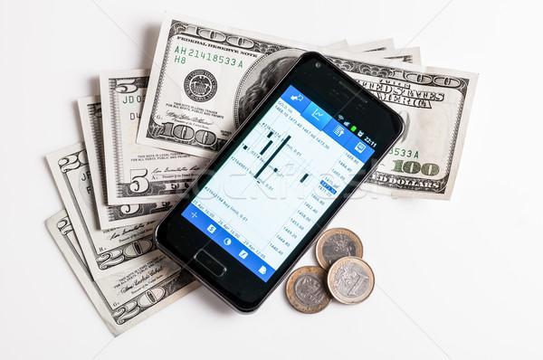 Forex handel mobiele telefoon geld witte business Stockfoto © tarczas