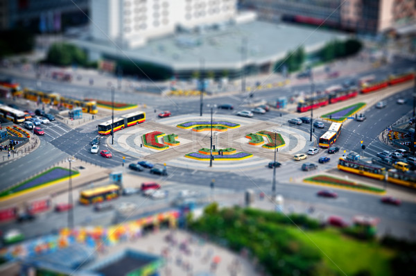 roundabout in the city at rush hour Stock photo © tarczas