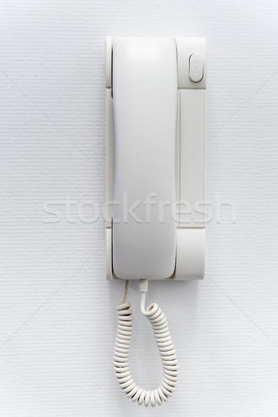 Witte plastic huis muur telefoon achtergrond Stockfoto © tarczas