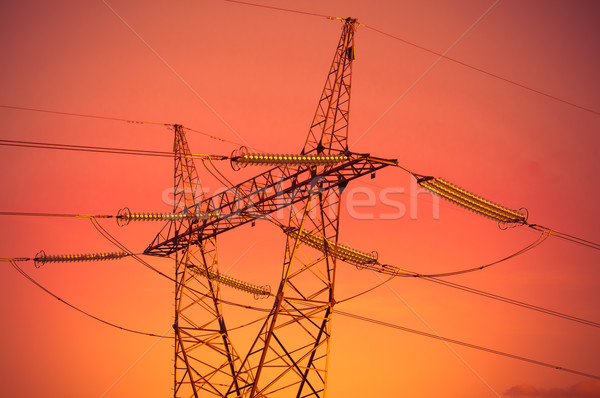 Pylon and transmission power lines in sunset Stock photo © tarczas