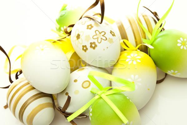 Foto stock: Ovos · de · páscoa · páscoa · ovo · verde · férias · celebração