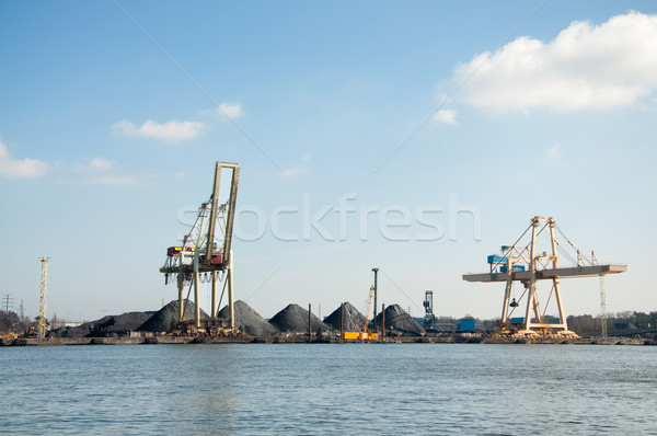 slag heaps of coal on the wharf in the port  Stock photo © tarczas