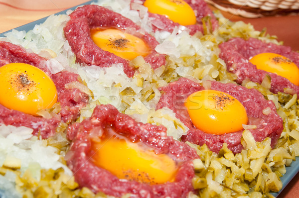 Bife ovo cebola vermelho carne pimenta Foto stock © tarczas