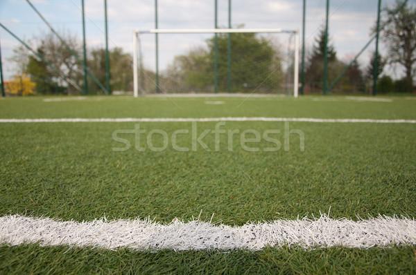 Boete voetbal rechter witte lijn gras Stockfoto © tarczas