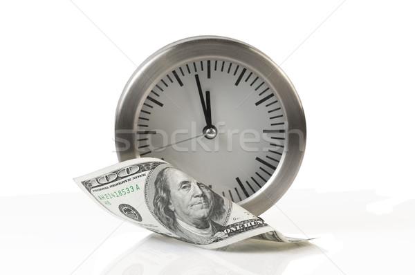 Tijd is geld klok dollar witte geld tijd Stockfoto © tarczas