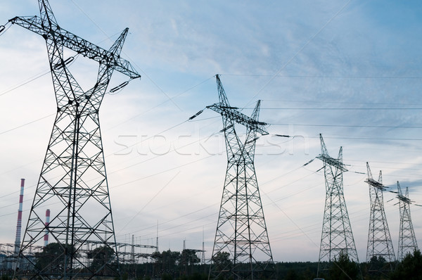 Transmission power line in sunset Stock photo © tarczas