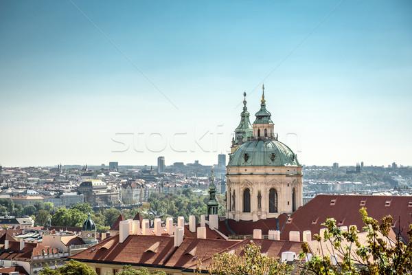 panorama of the city of Prague and St Nicholas church Stock photo © tarczas