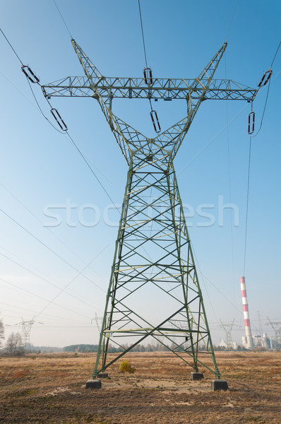 Pylon and transmission power lines Stock photo © tarczas